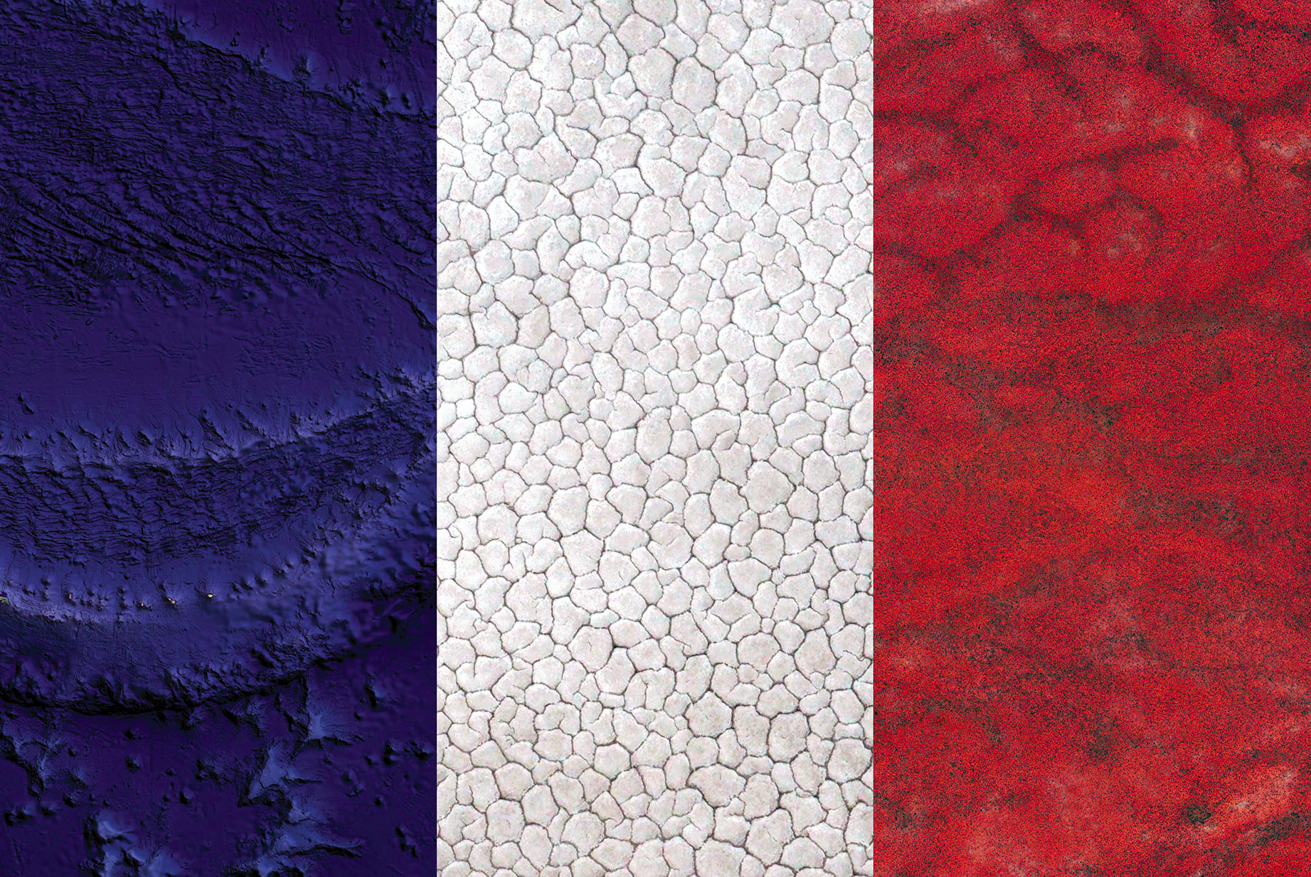 France Earth Flag (oceania, kazakhstan, kenya), 2016, cm 67×100, 1/9