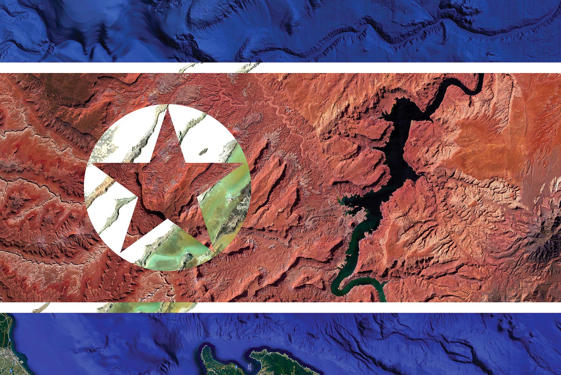 North Korea Earth Flag (Sea of Japan, USA, Ukraine), 2018, cm 67×100, 1/9