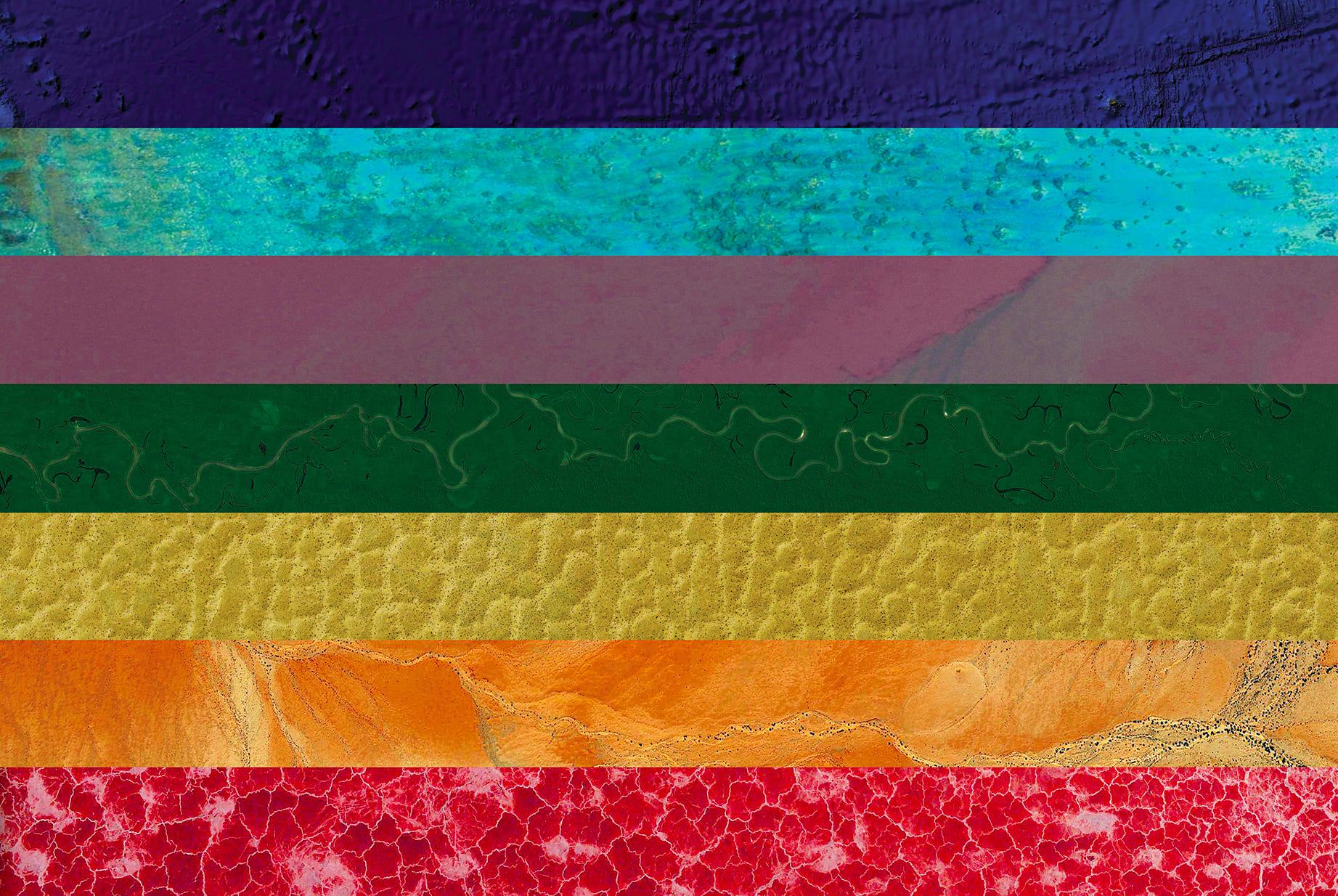 Peace Earth Flag (Atlantic Ocean, French Polynesia, Papua New Guinea, Brazil, Turkmenistan, Sudan, Tanzania), 2016, cm 67×100, 1/9