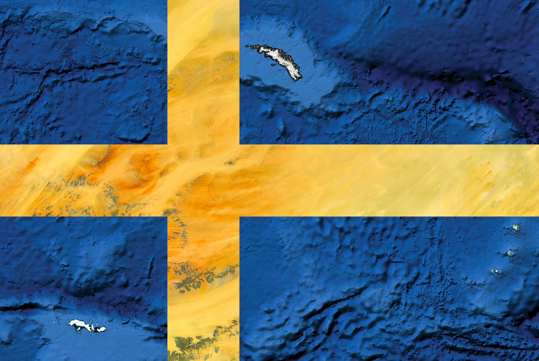 Sweden Earth Flag (South Atlantic, Chad), 2016, cm 67×100, 1/9