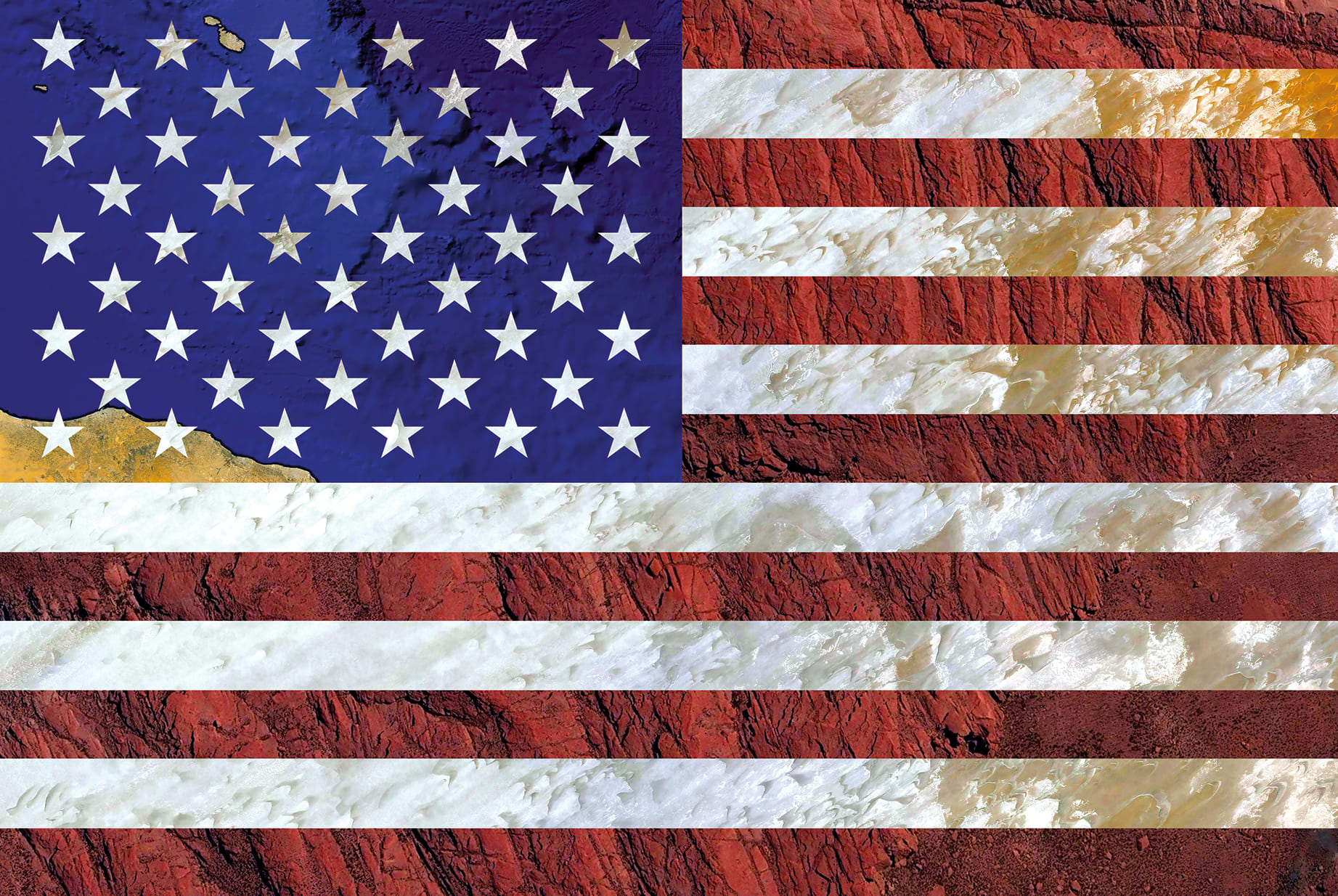USA Earth Flag (Bolivia, Chad, Mediterranean Sea), 2016, cm 67×100, 1/9