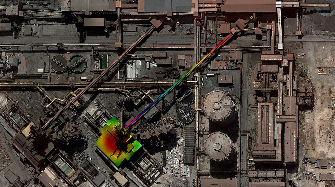 Taranto steelworks, 2020, Satellite Photography with multicolor filter and song by Rino Gaetano, cm 69×120, #9